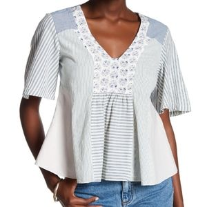 Rebecca Taylor Patchwork Silk Blend Boho Blouse
